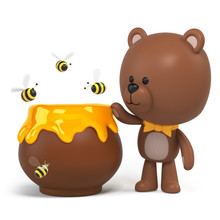 3d Render, Cute Little Chocolate Teddy Bear, Honey Pot, Bees, Cartoon Character Design, Toy Clip Art Isolated On White Background, Digital Illustration