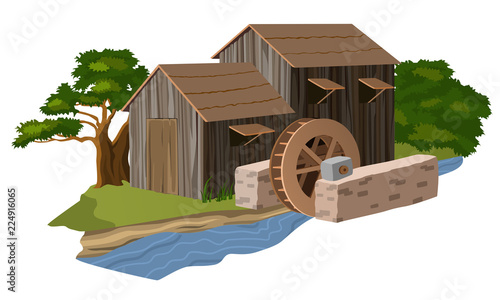 Water mill house Wallpaper Mural
