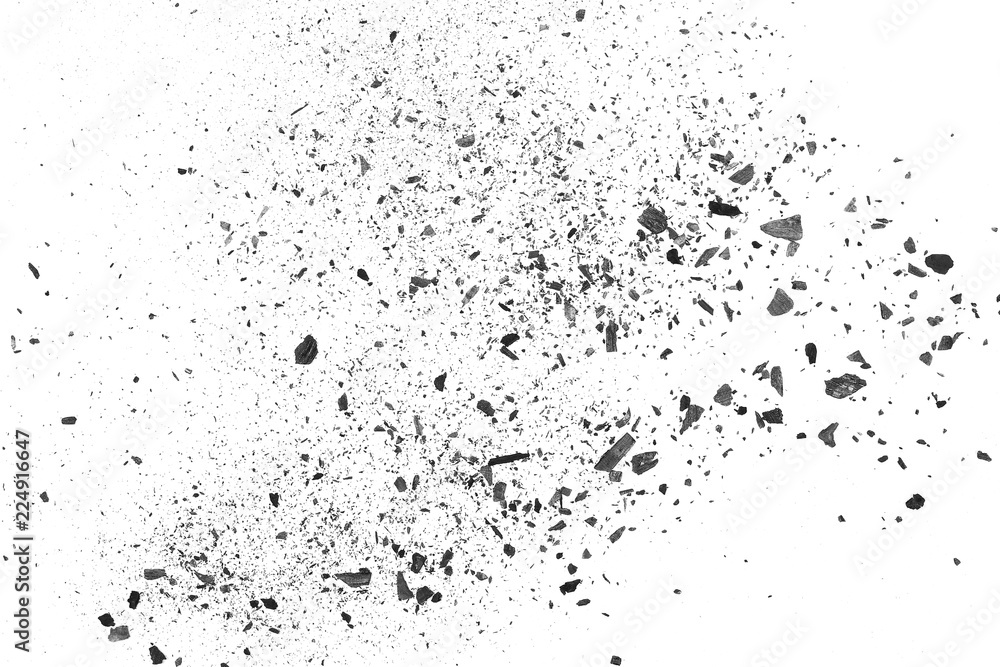 Fototapety, obrazy: Black charcoal dust, gunpowder isolated on white background and texture, top view
