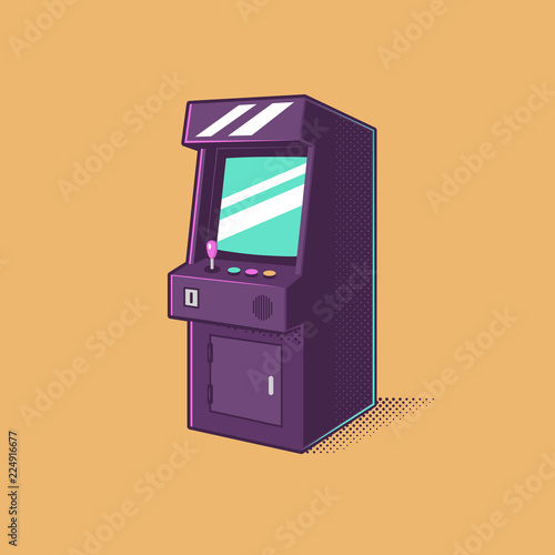 Leinwand Poster Vintage video games arcade machine vector illustration