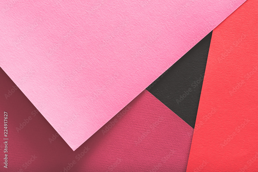 Fototapety, obrazy: layered construction paper background. red and pink colors abstract design with copyspace.