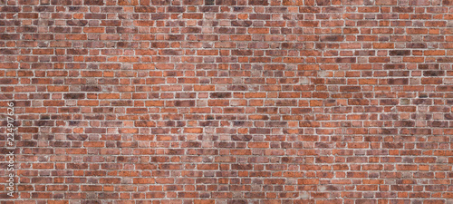 Dark Brown Or Red Old Brick Wall, Panorama. Brickwork Background Or Texture. Copy Space For Text Or Banner. - 224917626