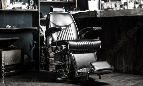 Barber shop chair. Stylish vintage barber chair. Barbershop armchair ...