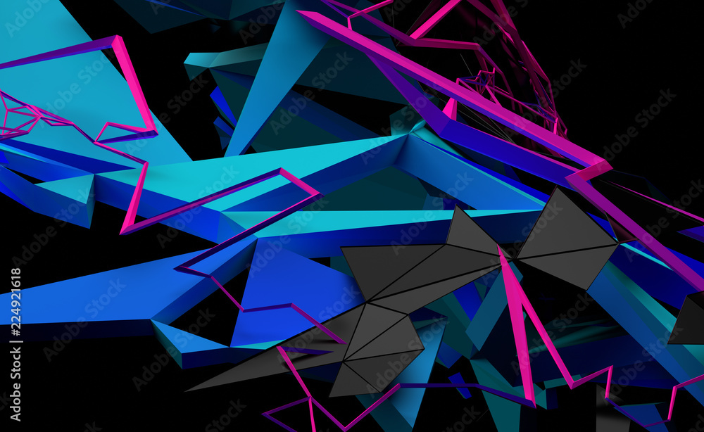 Fototapeta Abstract 3d rendering of random geometric shapes. Futuristic modern background design for poster, cover, banner, placard