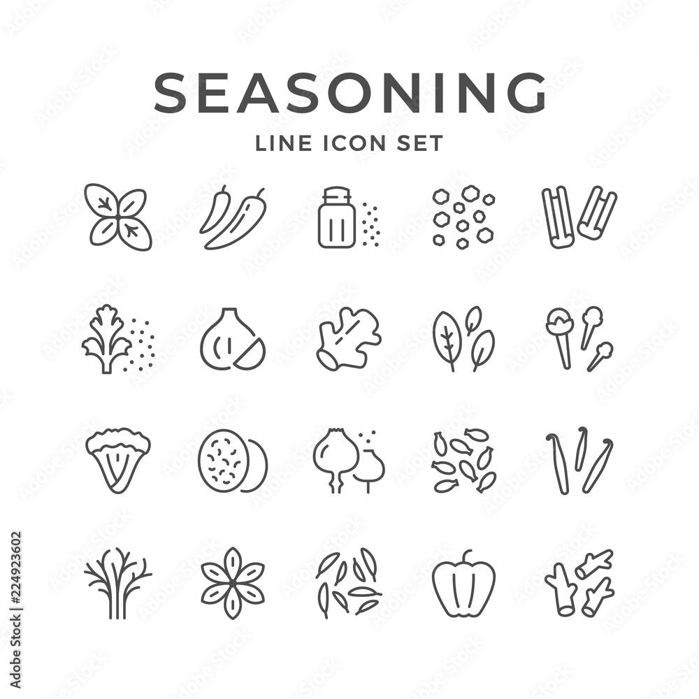 Fototapety, obrazy: Set line icons of seasoning