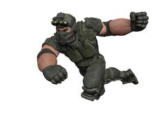 Tactical Army Man Cartoon In W...