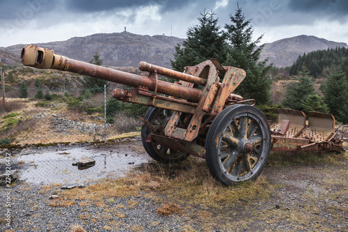 Photo Old rusted German cannon from World War II