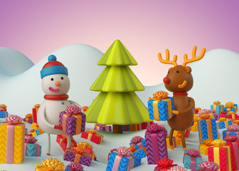 3d render, snowman and reindeer holding gift boxes, Christmas greeting card, festive template, pink holiday background, illustration,