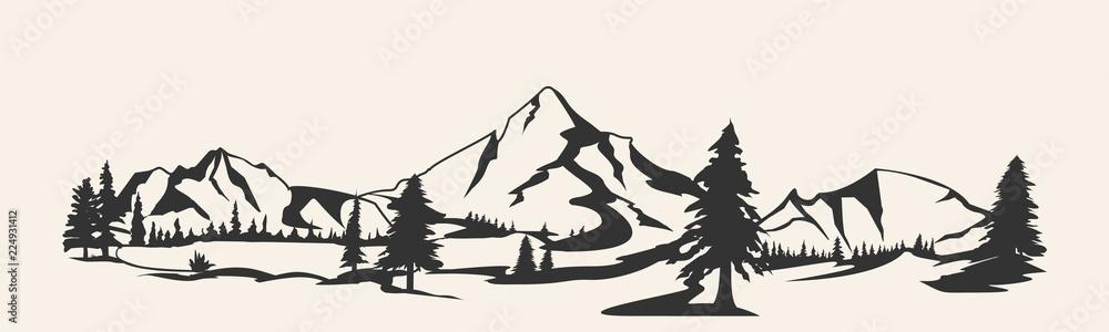 Fototapeta Mountains vector.Mountain range silhouette isolated. Mountain vector illustration