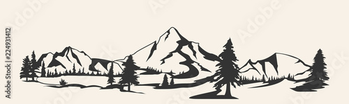 Mountains vector.Mountain range silhouette isolated. Mountain vector illustration