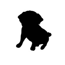 Pug Purebred Dog Sitting In Side View With Shadow - Vector Silhouette Isolated