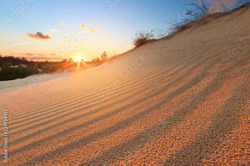 sunset in the desert / sand dune bright sunset colorful sky