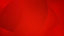 Abstract Background Of Curved Surfaces And Halftone Dots In Red Colors