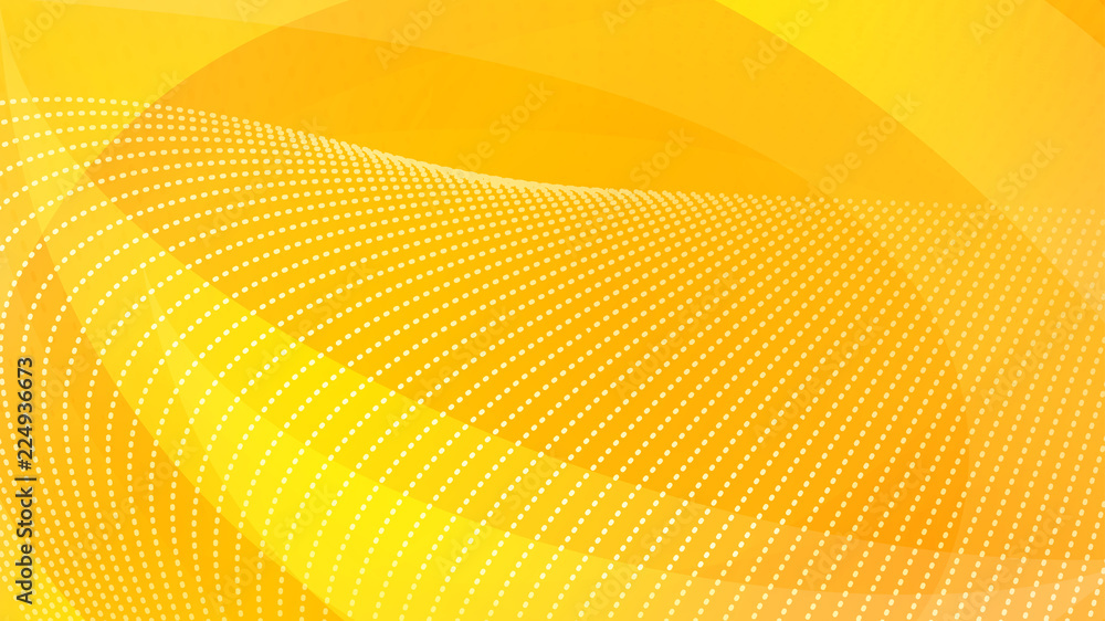 Fototapety, obrazy: Abstract background of curved surfaces and halftone dots in yellow colors