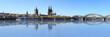 Leinwandbild Motiv Kölner Rheinufer mit Spiegelung des Doms im Wasser