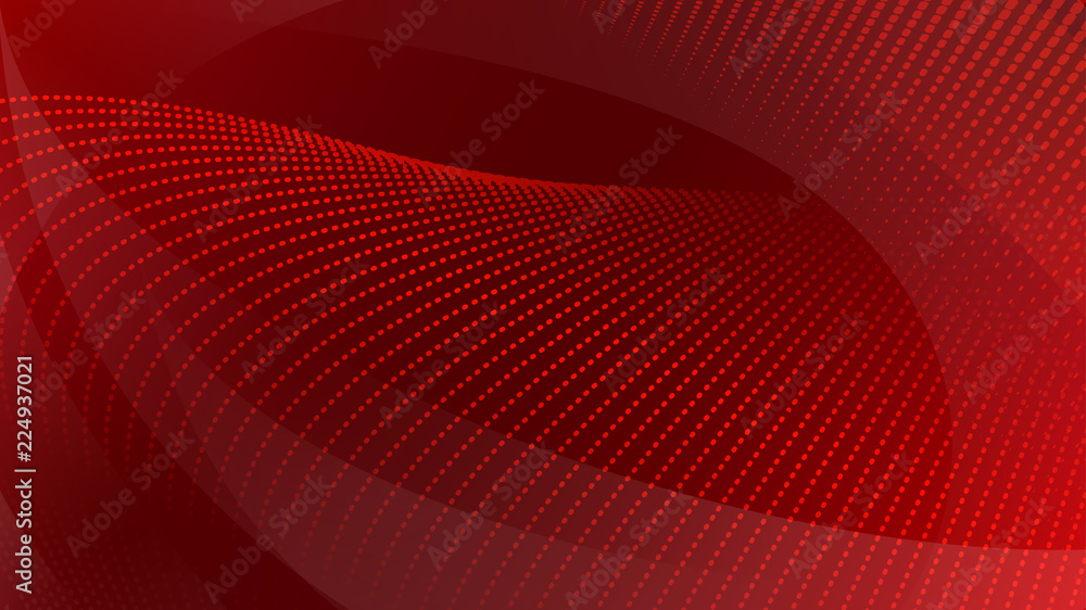 Fototapeta Abstract background of curved surfaces and halftone dots in red colors