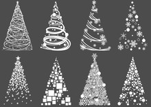 Set Of Abstract Christmas Tree...
