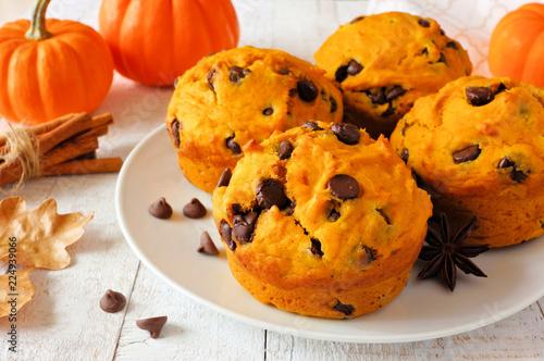 Stampa su Tela Autumn pumpkin chocolate chip muffins