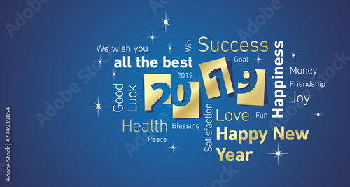 Fototapety, obrazy: Happy New Year 2019 negative space cloud text gold white blue vector