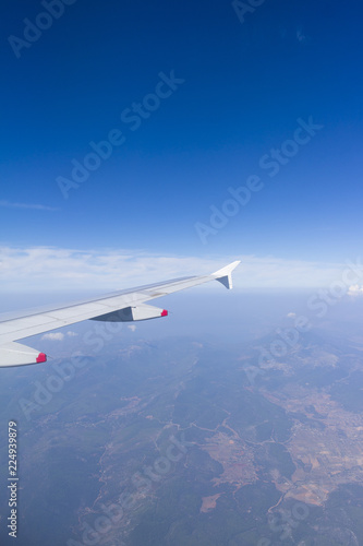 Ariel view from an airplane flying, wonderful landscape underneath