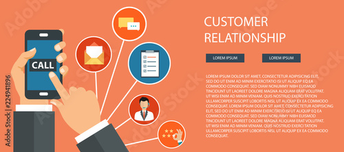 Business customer care service concept  Icons set of contact