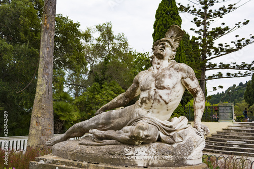Sculpture of the dying achilles in achilleion palace corfu Canvas Print