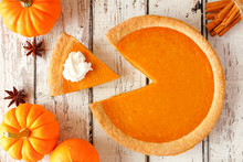 Pumpkin Pie With Slice Removed...