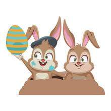 Rabbits Couple Cartoon