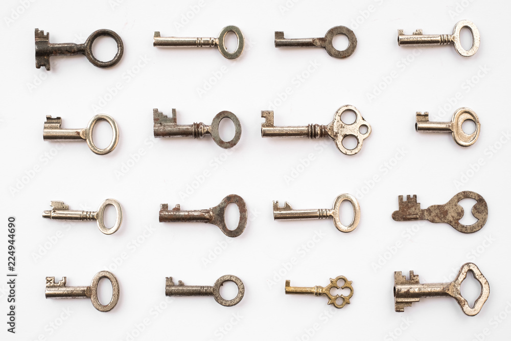 Fototapety, obrazy: keys on white background - key pattern