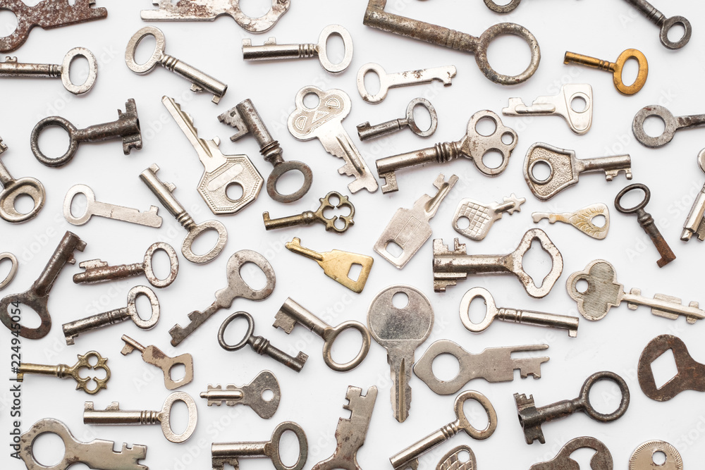 Fototapety, obrazy: old keys  - small retro key collection