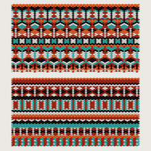 Ethnic Patterns On The Knitted Fabric. Vector Stylization