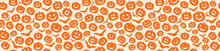 Design Of Halloween Texture With Pumpkins. Vector.