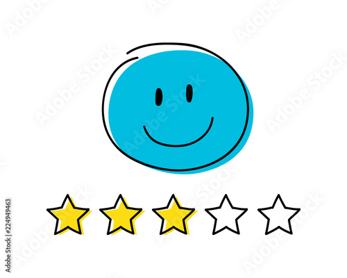 Foto op Canvas Cars Rating icon - three stars. Blue coloured happy stickman. Vector.