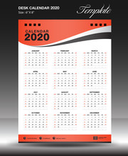 Calendar 2020 Year Size 6x8 Inch Vertical, Week Start Sunday, Business Flyer, Orange Background, Vector Illustration