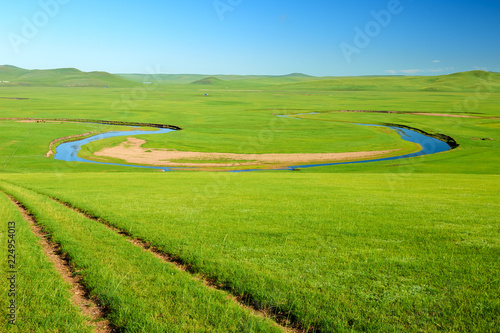 Tuinposter Pistache The Muzigler river valley of Hulunbuir grassland of China.