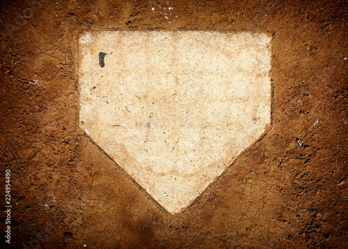 Photo  baseball home plate and dirt
