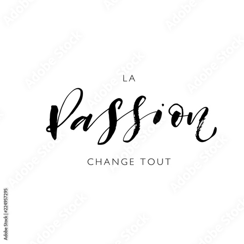Passion changes everything phrase in French. Hand drawn modern brush vector calligraphy.  Wall mural