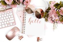Rose Gold Styled Desktop On Wh...