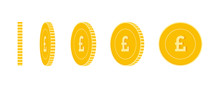 British Pound Coins Set, Animation Ready. GBP Yellow Coins Rotation. United Kingdom Metal Money In D