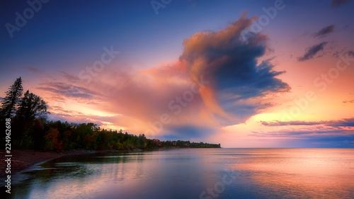 Aluminium Prints Dark grey Fantastic Huge Clouds over North Shore Horizon