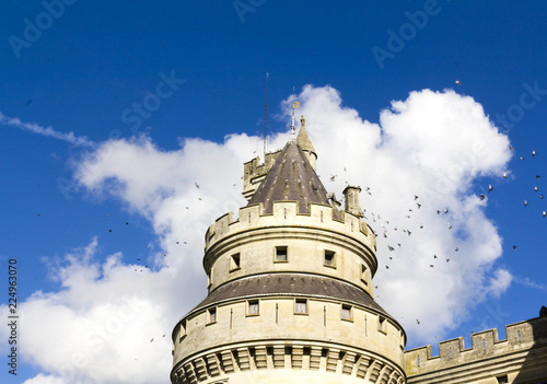 Tuinposter Oude gebouw Turret with pigeons at the medieval castle of Pierrefonds, Picardy, France. Exterior with crenelations and turrets