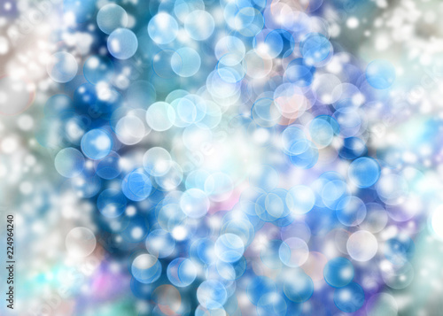 blue abstract bokeh with snow christmas and new year theme background