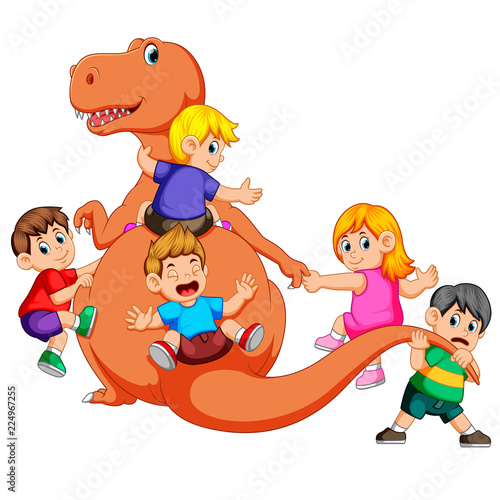Photo the children playing and holding the Tyrannosaurus Rex's body and pull his tail