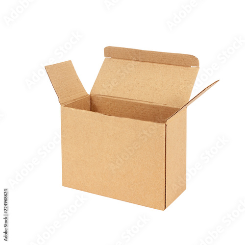 Foto Cardboard box isolated on white