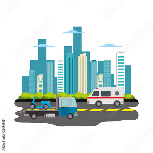Fotografía  road with cars lcityscape scene