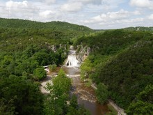 Wide Aerial Shot Of Turner Falls During A Flooding, Sulphur,Oklahoma