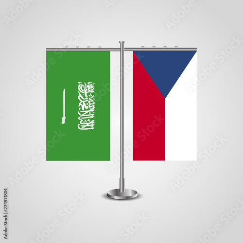 Photo  Table stand with flags of Saudi Arabia and Czech Republic