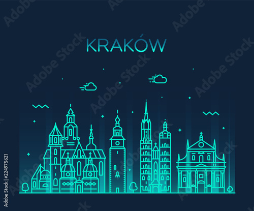 Fototapeta Krakow skyline, Poland. Trendy vector linear city obraz