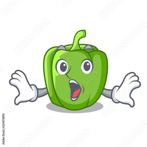 Surprised cartoon fresh green pepper in the kitchen Slika na platnu