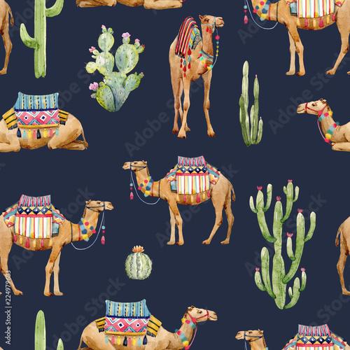 Watercolor camel pattern Fototapete